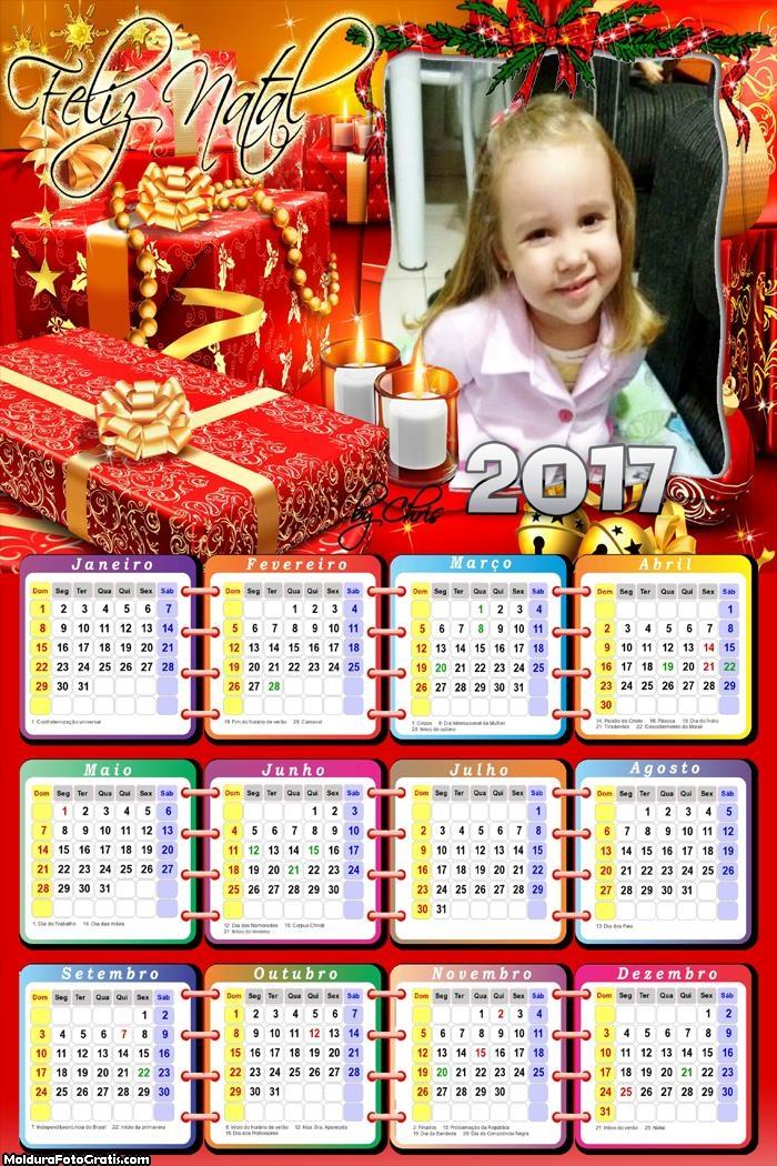 Calendário Presentes de Natal FotoMoldura 2017