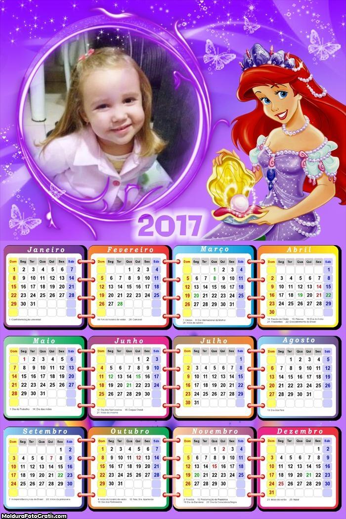 Calendário Princesa Ariel FotoMoldura 2017