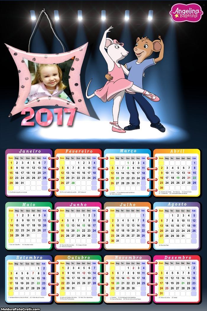 Calendário Angelina Bailarina Desenho 2017