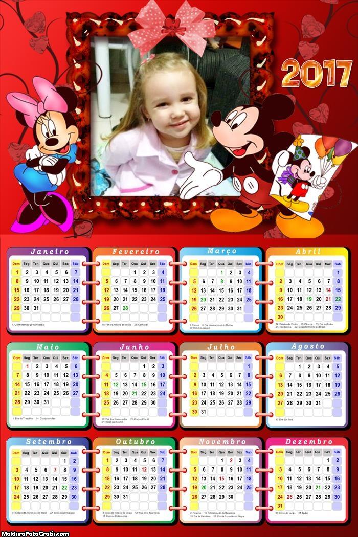 Calendário Mickey e Minnie 2017