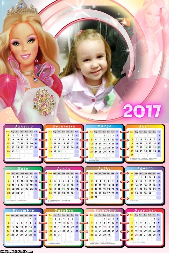 Calendário Boneca Barbie FotoMoldura 2017