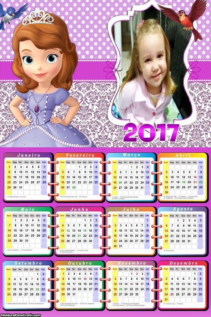 Calendário Princesinha Sofia 2017