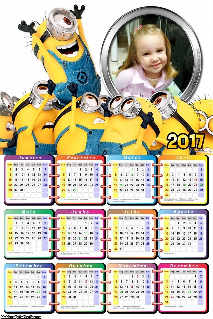 Calendário Minios PNG 2017