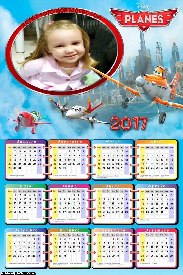 Calendário Desenho Aviões 2017