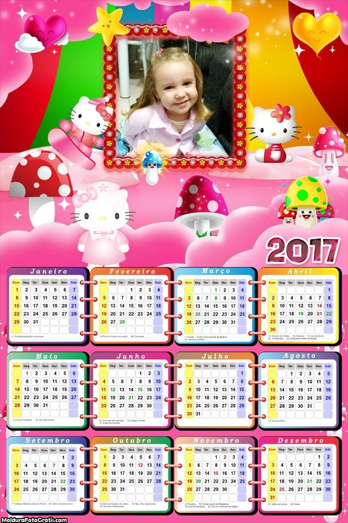 Calendário Desenho Hello Kitty 2017