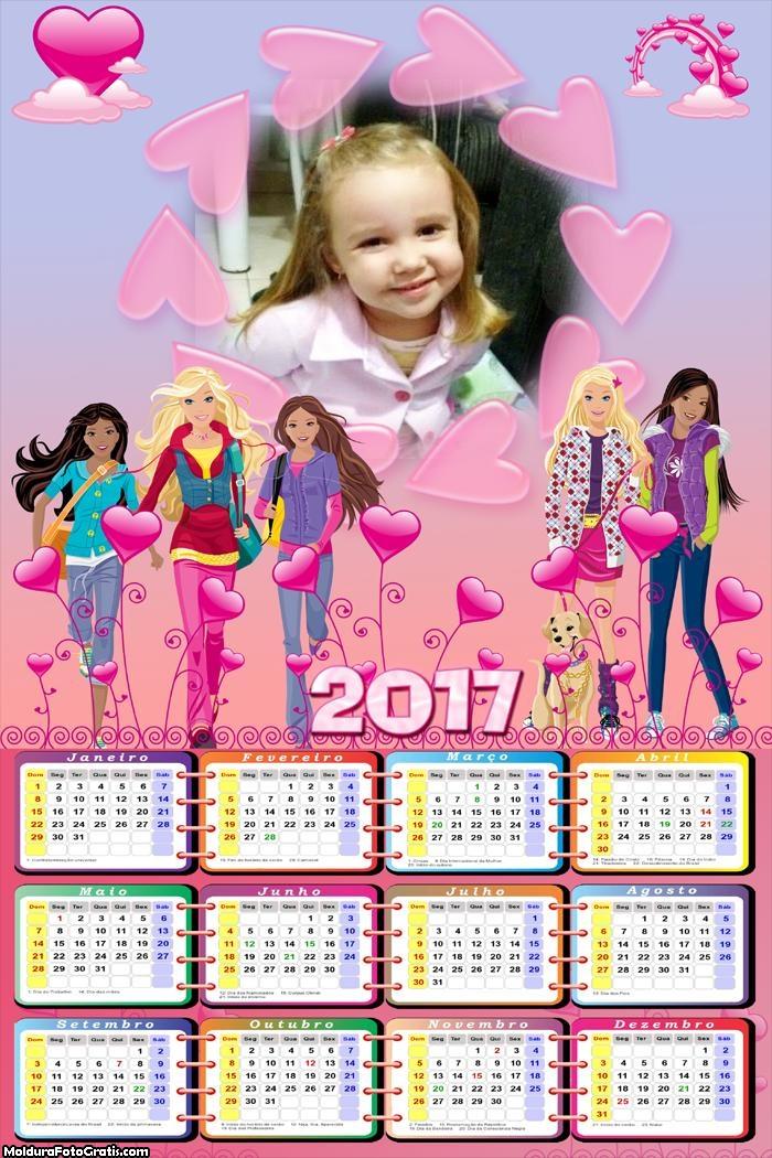 Calendário Barbie 2017 FotoMoldura