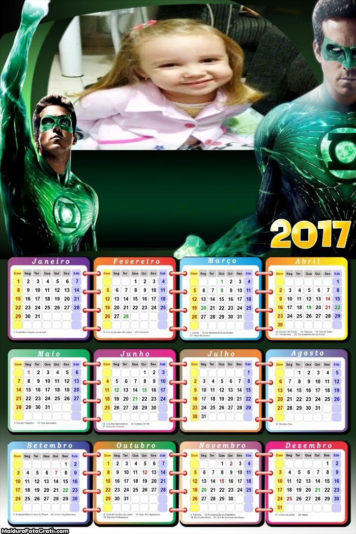 Calendário Lanterna Verde FotoMoldura 2017