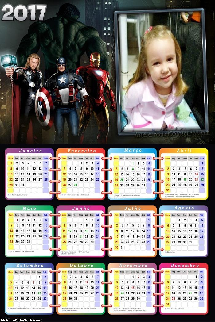 Calendário dos Vingadores 2017