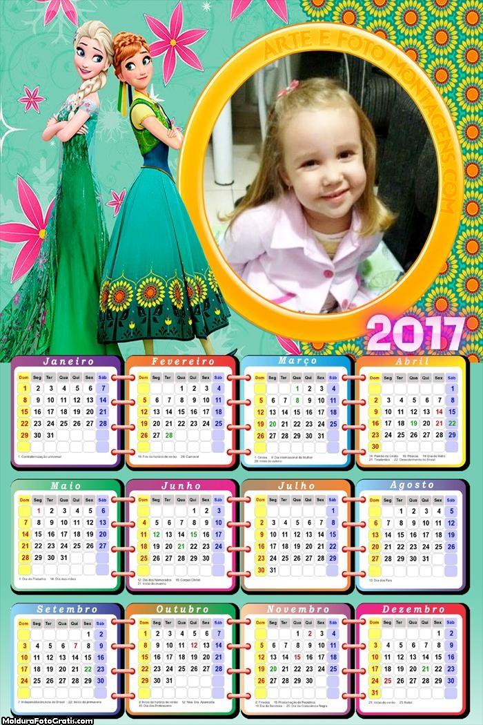 Calendário Princesas Frozen Fever 2017