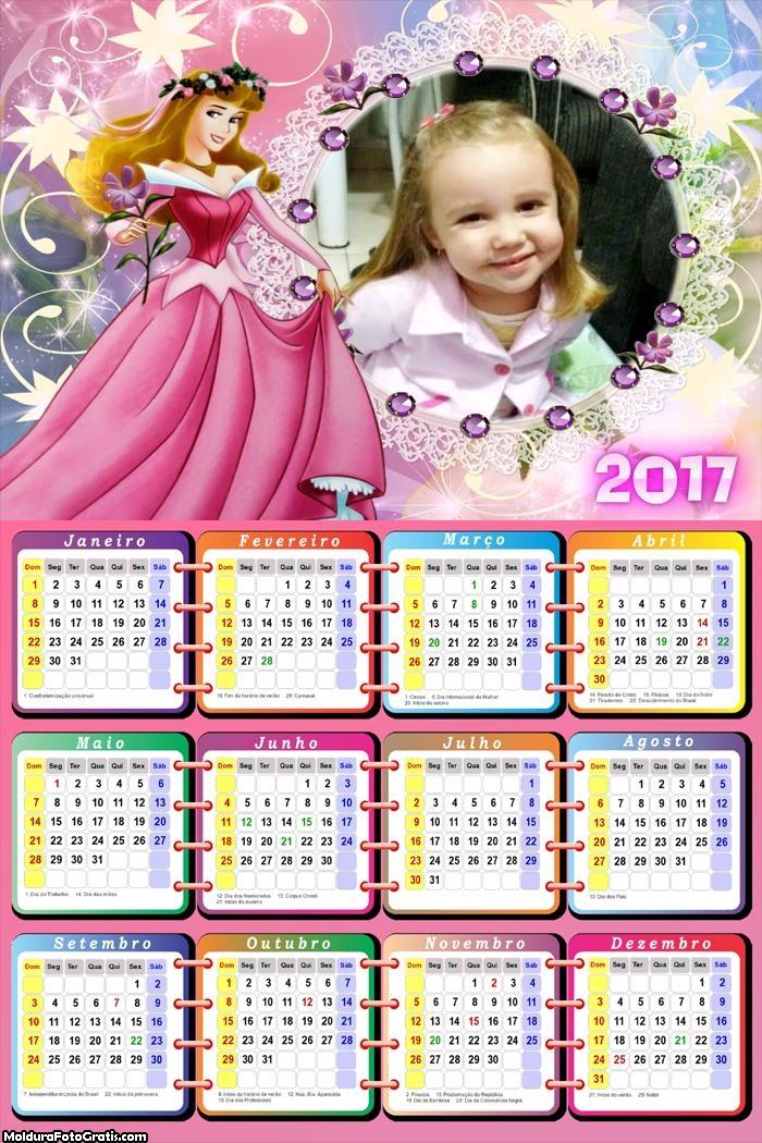 Calendário Bela Adormecida e Vestido Rosa FotoMoldura 2017