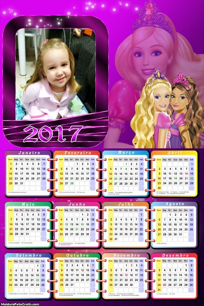 Calendário Barbi 2017