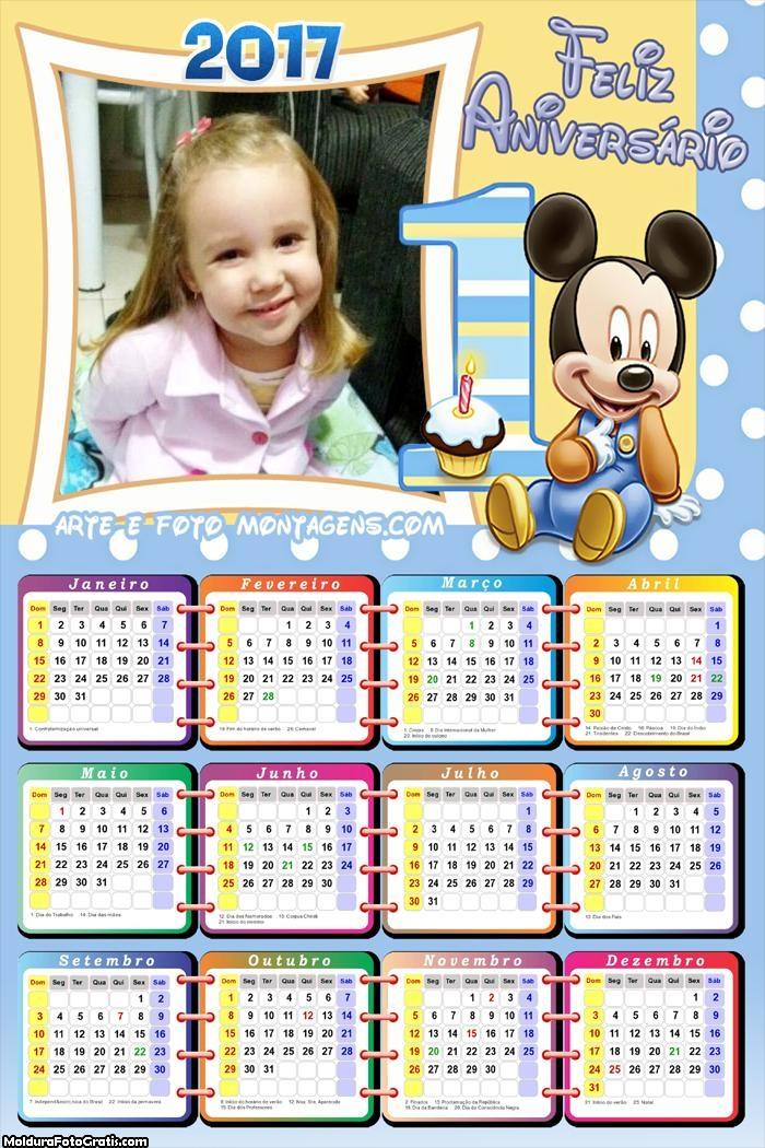 Calendário Mickey 1 Ano 2017