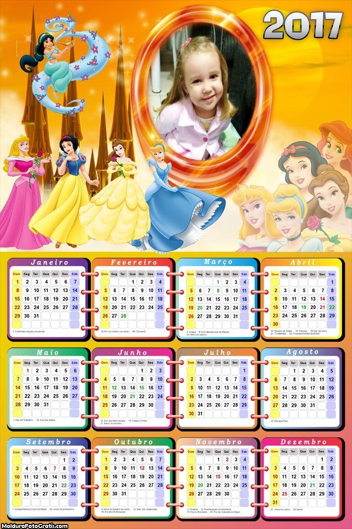 Calendário Princesas Da Disney FotoMoldura 2017