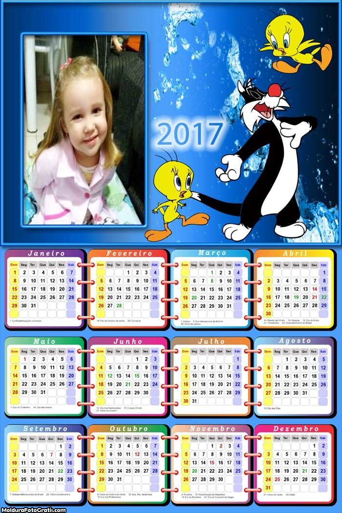 Calendário Gatinho e Passarinho 2017