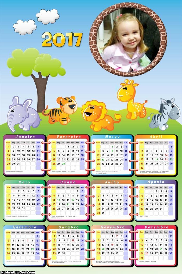 Calendário Animais do Safari FotoMoldura 2017