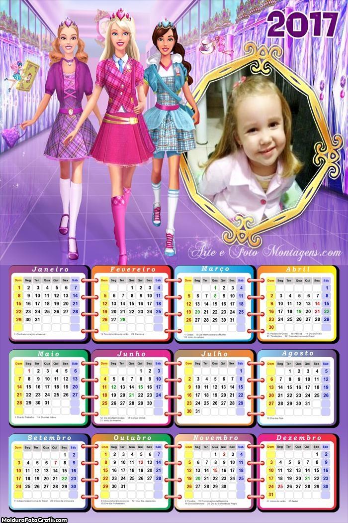 Calendário Barbie Escola Princesas 2017