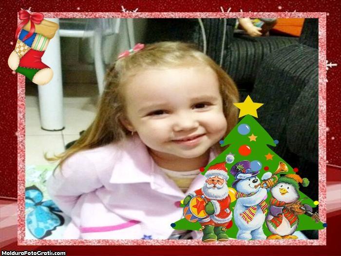 Foto Moldura Papai Noel Cantando
