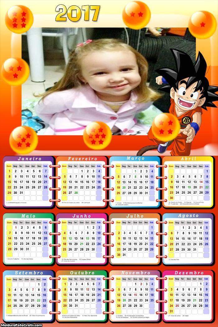 Calendário Dragon Ball FotoMoldura 2017