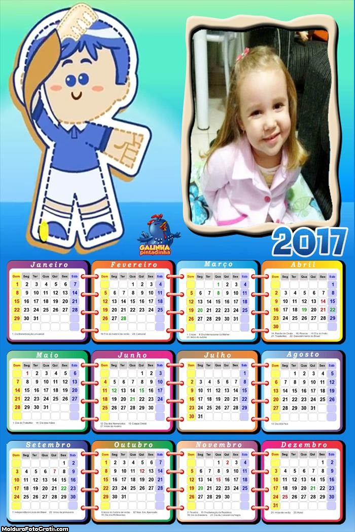 Calendário PimPom Galinha Pintadinha 2017