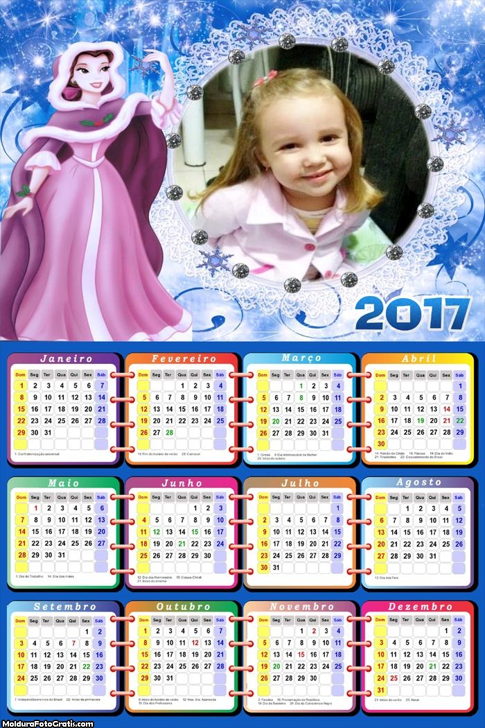 Calendário Princesa Do Gelo FotoMoldura 2017