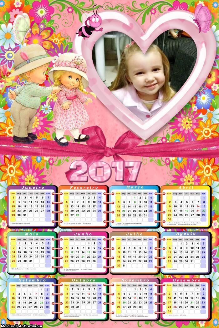 Calendário Infantil de Crianças 2017