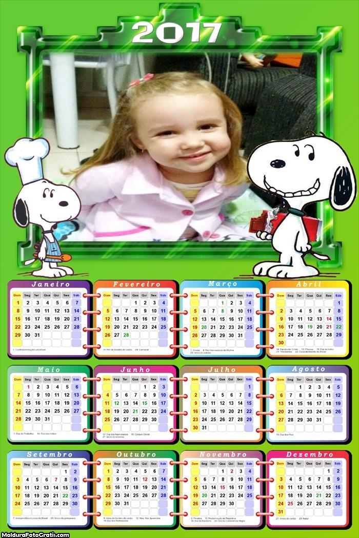 Calendário Cachorro Snoopy 201