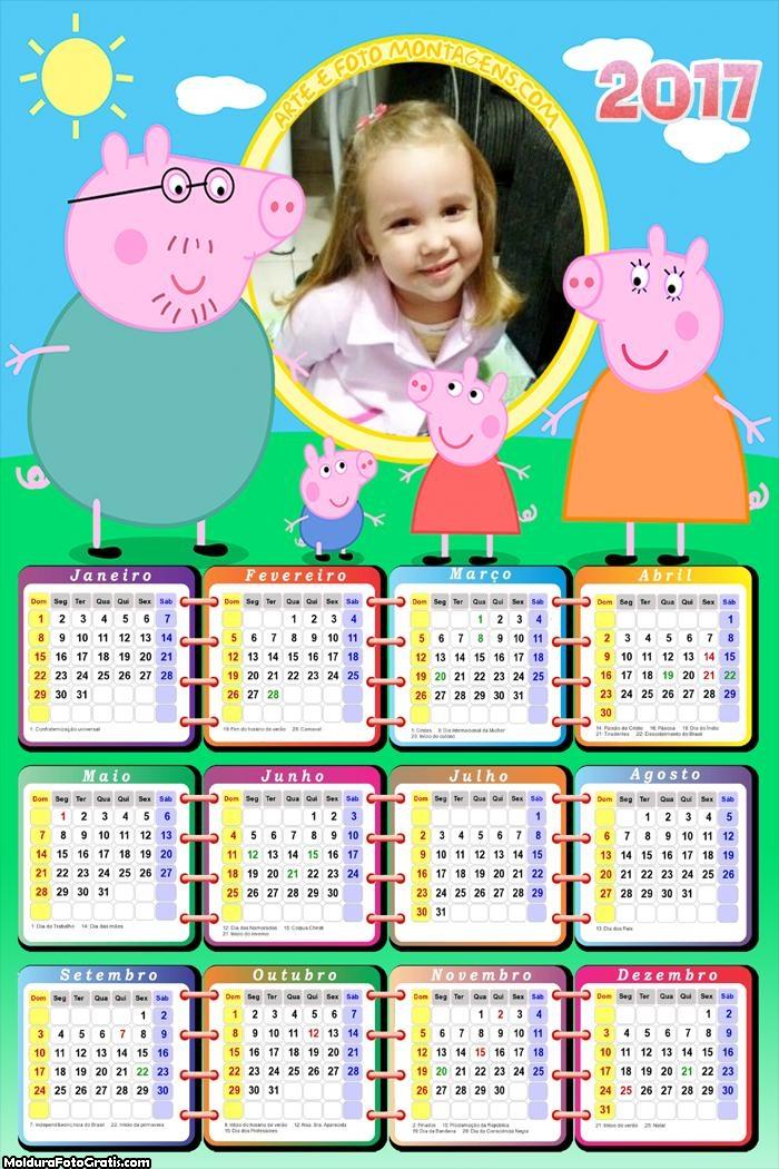 Calendário Peppa Pig Família Reunida 2017