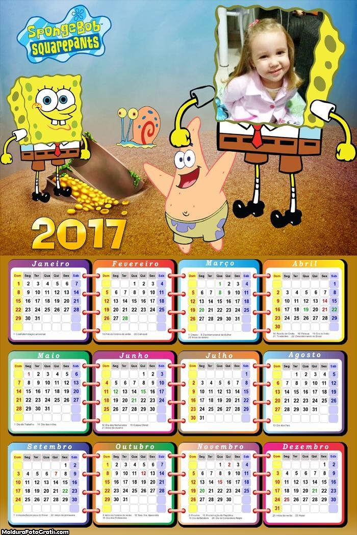 Calendário Bob Esponja Primitivo 2017