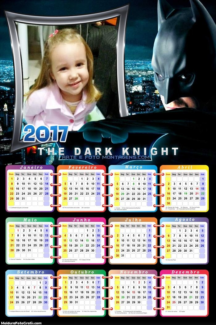 Calendário The Batman Dark 2017