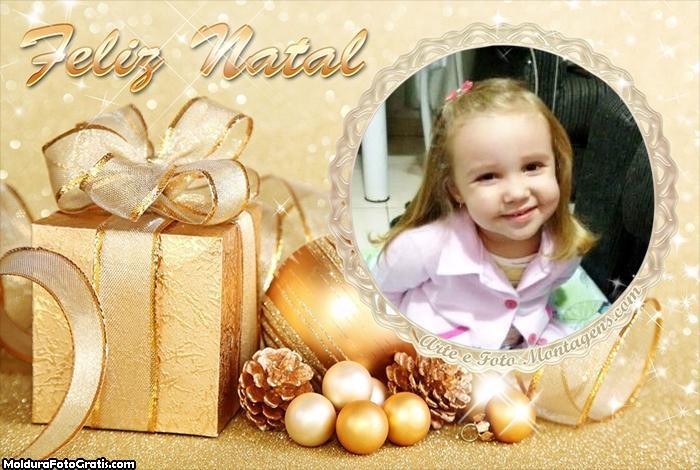 Foto Moldura Presente de Ouro Feliz Natal