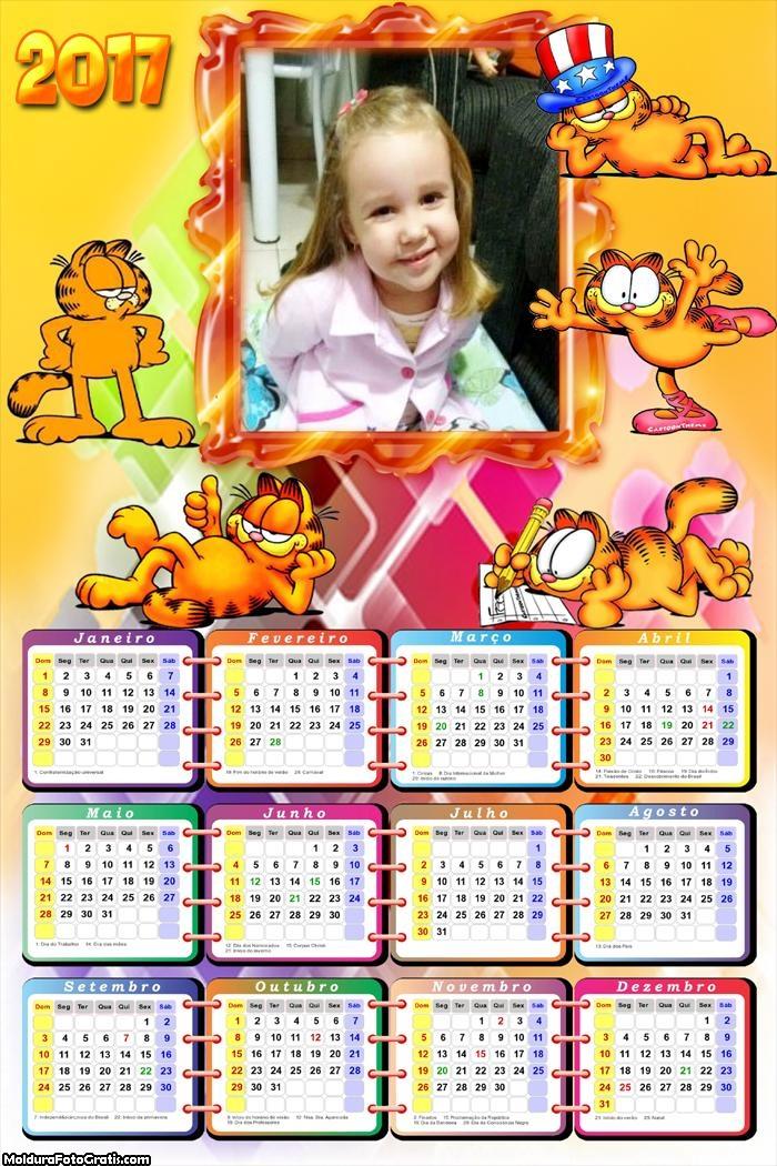 Calendário Gato Garfield 2017
