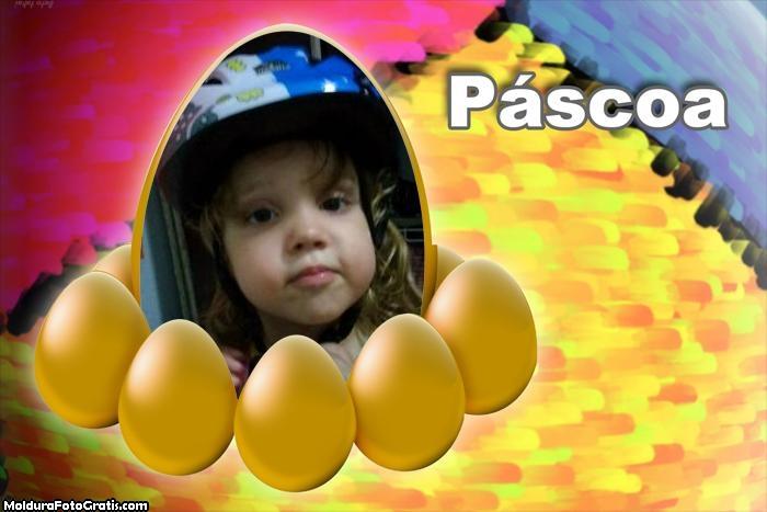 FotoMoldura Ovos de Páscoa Amarelo