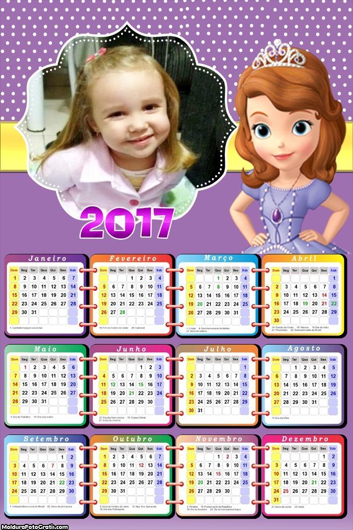 Calendário Princesinha Sofia Chamosa FotoMoldura 2017
