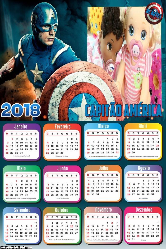 Calendário do Capitão América 2018