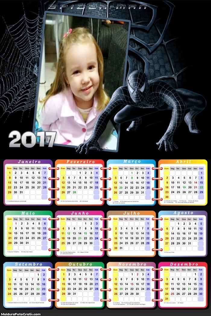 Calendário Homem Aranha Homecoming 2017