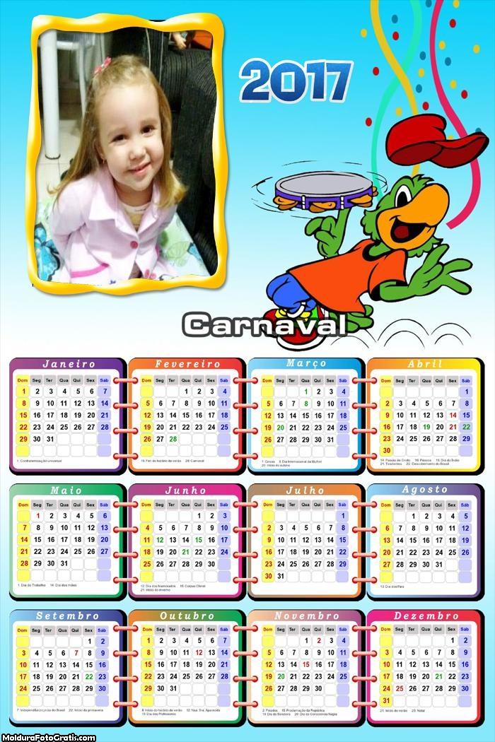 Calendário Carnaval Brasil Zé Carioca 2017