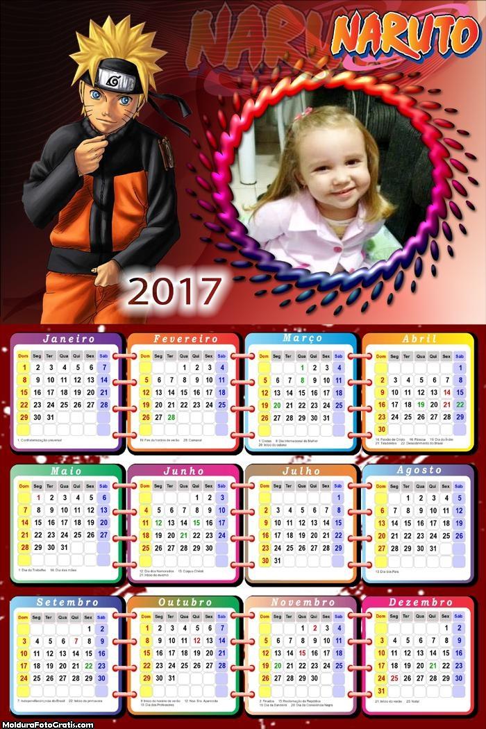 Calendário Naruto 476 2017