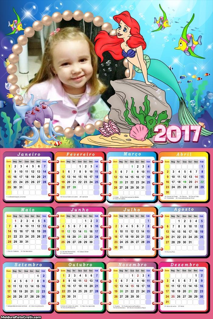 Calendário Ariel e Seus Amigos Peixes FotoMoldura 2017
