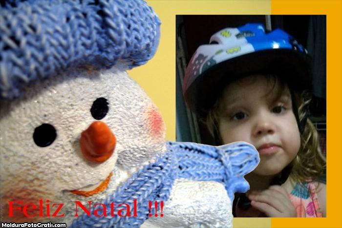 FotoMoldura Feliz Natal Boneco de Neve