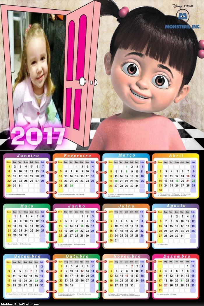 Calendário Menina Monstro S.A 2017