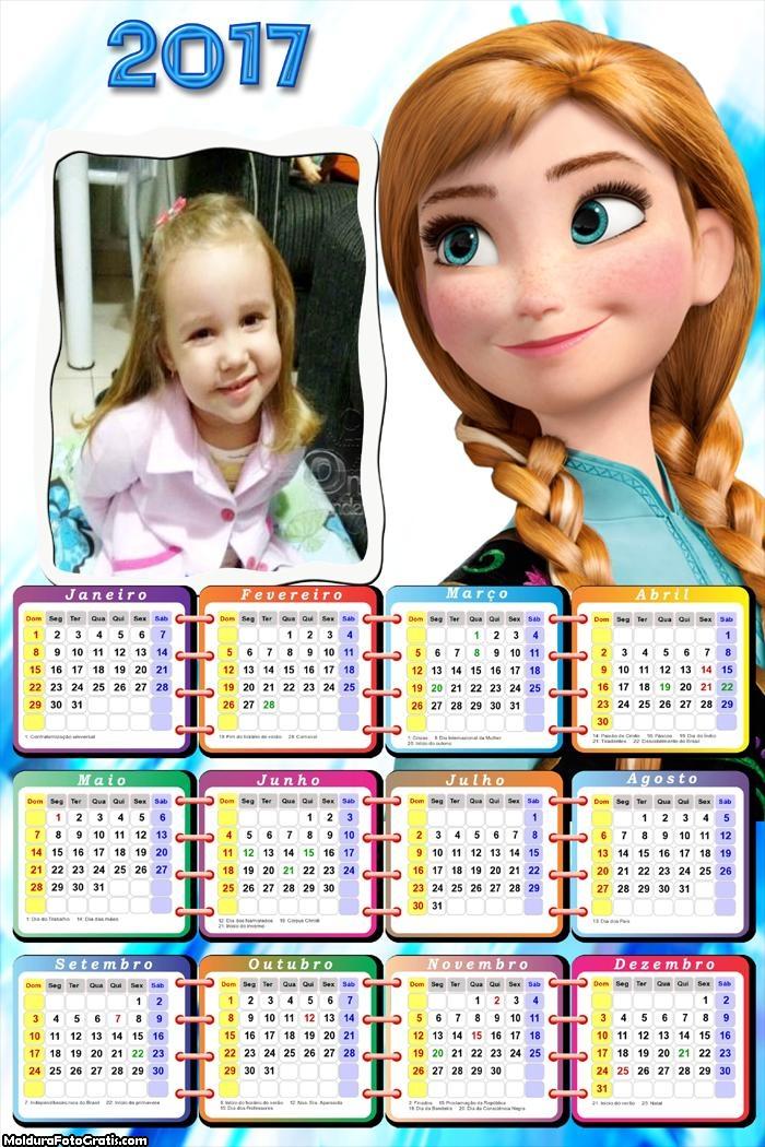 Calendário Princesa Anna Frozen 2017
