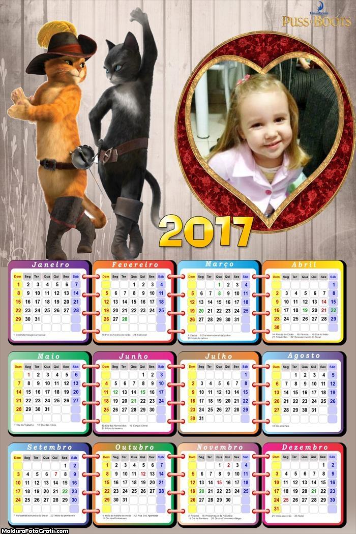 Calendário Gato de Botas FotoMoldura 2017