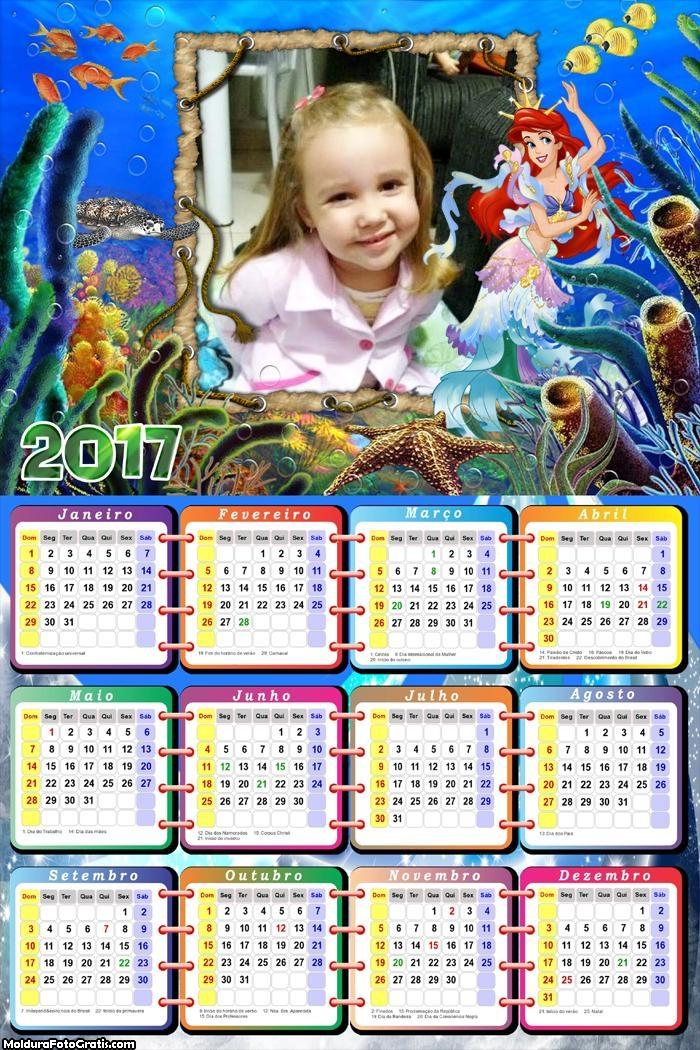 Calendário Princesa Ariel e Corais Encantados
