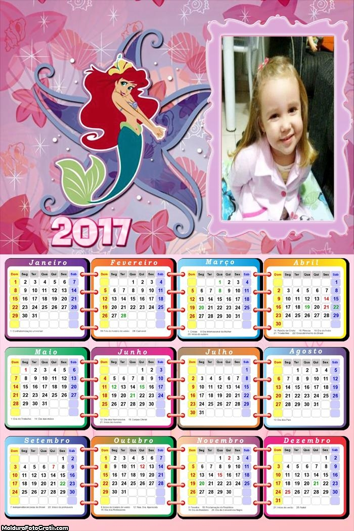 Calendário Ariel e Estrela do Mar FotoMoldura 2017