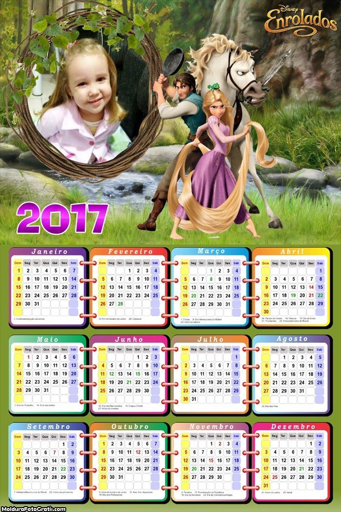 Calendário Enrolados Filme 2017
