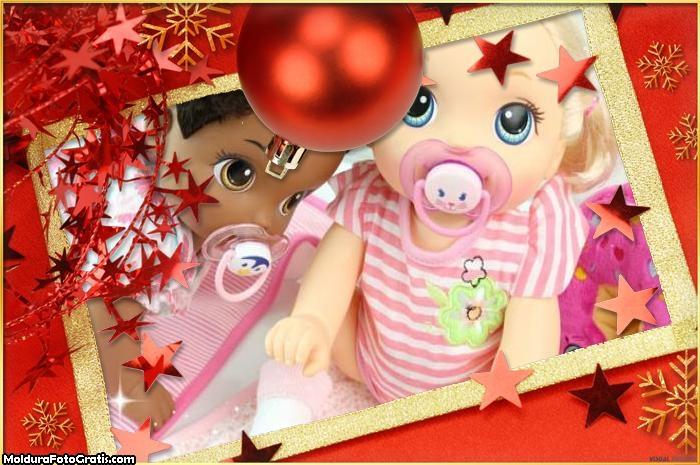 Estrelinhas Vermelhas de Natal FotoMoldura