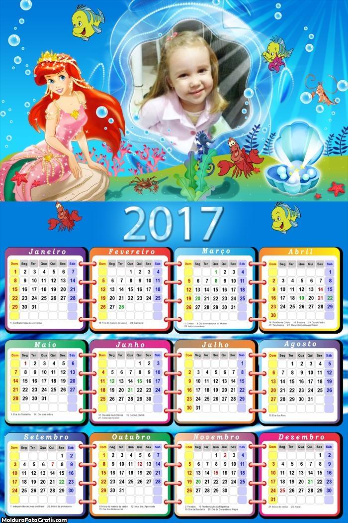 Calendário Ariel e Suas Jóias Encantadas FotoMoldura 2017
