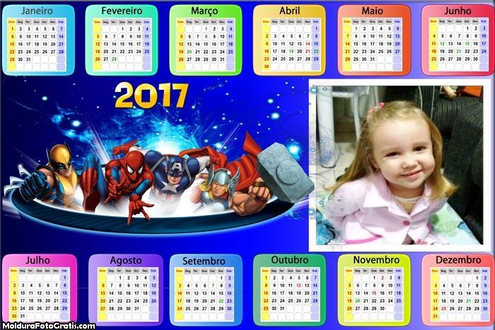 Calendário Heróis da Marvel 2017