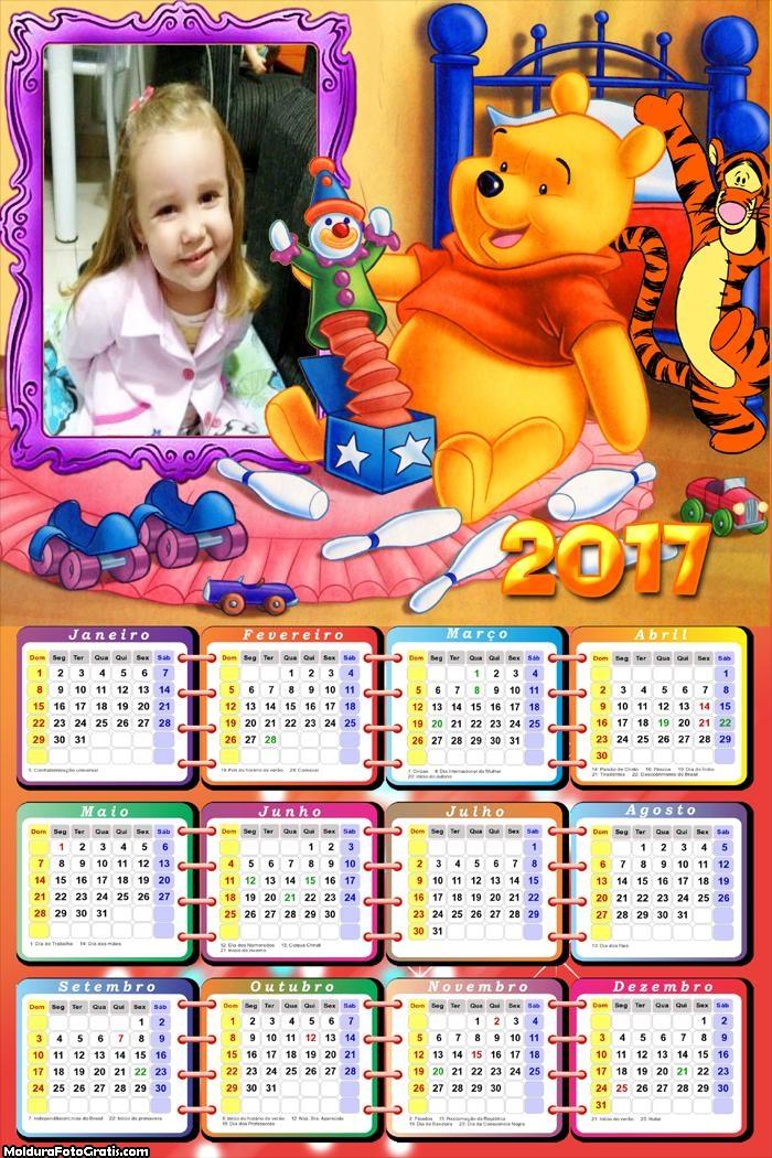 Calendário Pooh Ursinho 2017