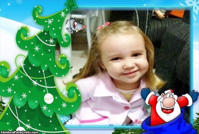 Papai Noel no Saco de Brinquedos Moldura